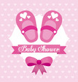 baby shower card girl shoe bow celebration vector image vector image