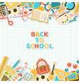 back to school stickers on grid paper vector image