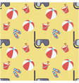 beach ball snorkel shoes bucket pattern yellow bac vector image