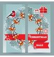 Bullfinch gift snowflake rowan branch vector image vector image