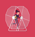 businesswoman in a hamster wheel vector image vector image