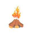 campfire logs burning cartoon vector image vector image