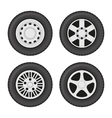 Car Wheels Icons Set on White Background vector image