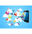 Cloud storage glossy app icons vector image