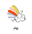 creative rain cloud with rainbow funny design vector image vector image