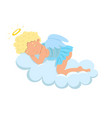 cupid sleeps on a cloud isolate on a white vector image