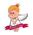 cute cupid girl icon vector image