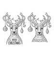 deer with christmas garland dressed in sweater vector image