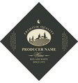 diamond shaped wine label with rural landscape vector image vector image