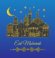 Eid Mubarak greeting with minaret vector image