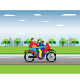 Family on a motorbike vector image vector image