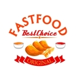 Fast food label Crispy fried chicken legs vector image vector image