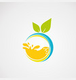 fresh juice logo with fresh orange concepticon vector image vector image