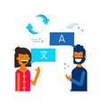 friends translating online social media chat vector image vector image