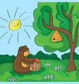 funny cartoon - cute bear with honey vector image vector image