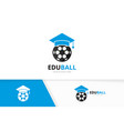 graduate hat and soccer logo combination vector image vector image