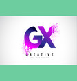 gx g x purple letter logo design with liquid vector image vector image