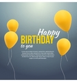 happy birthday poster background with yellow vector image vector image