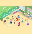 kindergarten kids learning sing isometric design vector image vector image