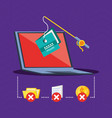 laptop computer with set icons cyber security vector image