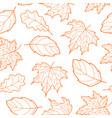leaves seamless outline orange vector image vector image