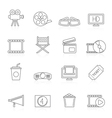Line movie and cinema icons vector image