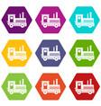 locomotive icon set color hexahedron vector image vector image