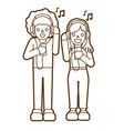 man and woman listening song together friendship vector image