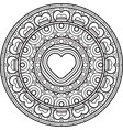 mandala with heart decorative round ornament vector image