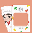 menu chef girl vector image vector image