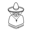 Mexican in sombrero on white background vector image