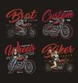 motorcycle vintage prints vector image vector image