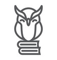 owl on books line icon e learning and education vector image vector image