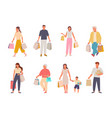 people with shopping set characters with paper vector image vector image