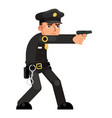 policeman gun weapon attack shoot character vector image vector image