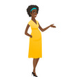 pregnant woman with arm out in a welcoming gesture vector image vector image