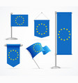 realistic 3d detailed europe flag banner set vector image
