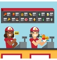 Restaurant workers serving fast food meals vector image