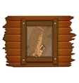 Saxophone image on a wooden board in frame uno vector image vector image