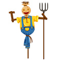 Scarecrow in farmer outfit holding fork vector image vector image