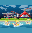 scene background design with kids in paddle boats vector image vector image
