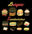 set bright burgers and sandwiches vector image vector image