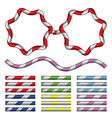 set candy cane brushes vector image vector image
