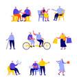 set flat people happy elderly people vector image