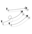 set icons airplane line path route aircraft lines vector image