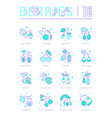 set line icons berries vector image