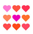set multi colored hearts of the correct form vector image vector image