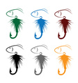 set of Fly fishing lure and fish vector image vector image