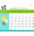 Simple 2014 calendar March vector image