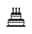 simple black cake icon on white background vector image vector image